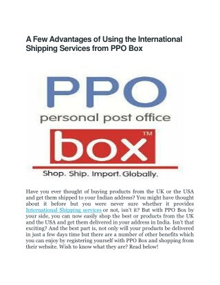 International Shipping Services | PPOBox(Personal Post Office)