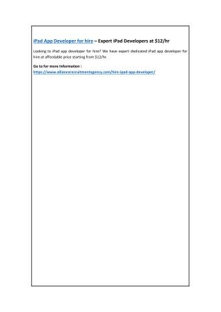 iPad App Developer for hire – Expert iPad Developers at $12/hr