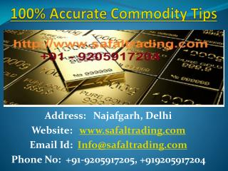 Get Intraday Commodity Market Gold Silver Crude Oil Trading Calls with Safal Trading