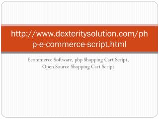 Ecommerce Software, php Shopping Cart Script