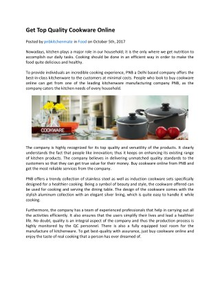 Get Top Quality Cookware Online