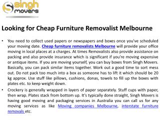 Looking for Cheap Furniture Removalist Melbourne