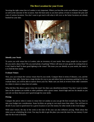The Best Location for your Event