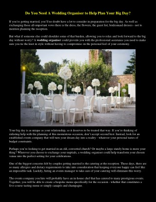 Do You Need A Wedding Organiser to Help Plan Your Big Day?