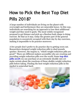 How to Pick the Best Top Diet Pills 2018