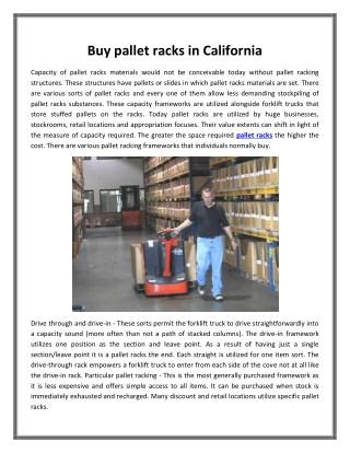 Buy pallet racks in California