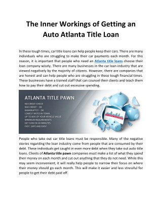 The Inner Workings of Getting an Auto Atlanta Title Loan