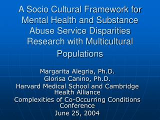 A Socio Cultural Framework for Mental Health and Substance Abuse Service Disparities Research with Multicultural Populat