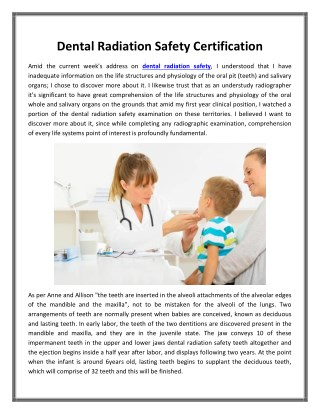 Dental Radiation Safety Certification