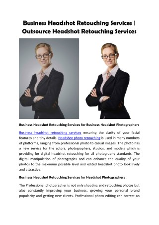 Business Headshot Retouching Services for Commercial Photography