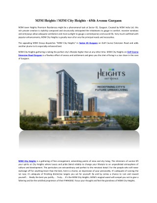 M3M Heights | M3M City Heights - 65th Avenue Gurgaon