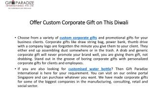 Offer Custom Corporate Gift on This Diwali
