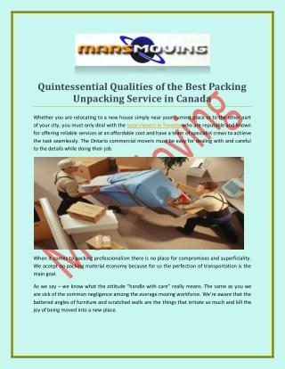 Packing unpacking service at marsmoving.ca