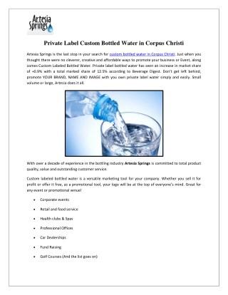 Private Label Custom Bottled Water in Corpus Christi