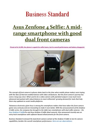 Asus Zenfone 4 Selfie: Perfect buy for click-ready selfie fanatics