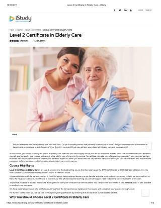 Level 2 Certificate in Elderly Care