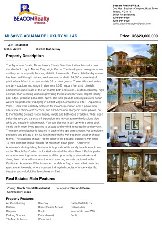 Residential Property on Sale - MLS#1VG Aquamare Luxury Villas