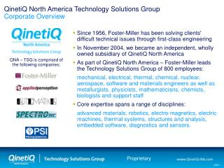 QinetiQ North America Technology Solutions Group Corporate Overview