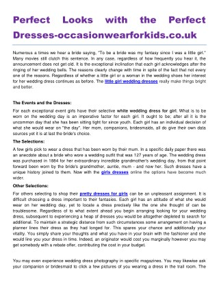 Perfect Looks with the Perfect Dresses occasionwearforkids.co.uk