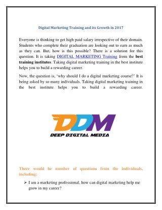 Digital Marketing Training and its Growth in 2017