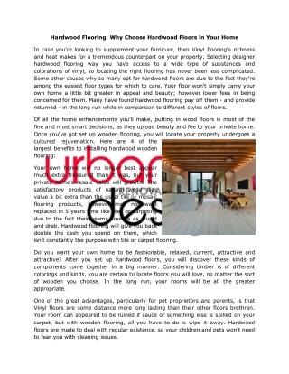 Choose Designer Hardwood Flooring