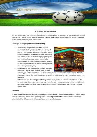 Singapore Online casino games