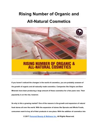 Rising Number of Organic and All-Natural Cosmetics