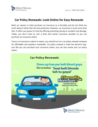 Car Policy Renewals: Look Online for Easy Renewals