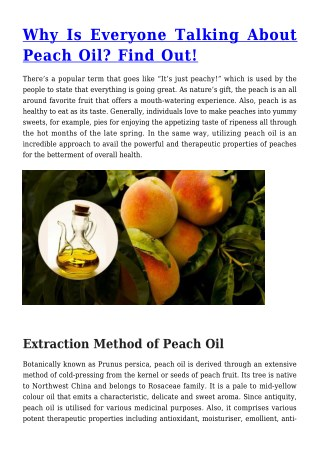 Why Is Everyone Talking About Peach Oil? Find Out!