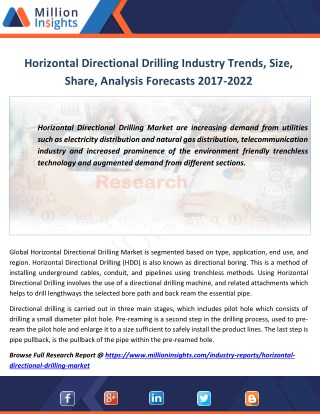 Horizontal Directional Drilling Market Size to 2022 Analysis by Applications, Types
