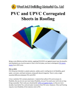 Pvc and upvc corrugated sheets in roofing