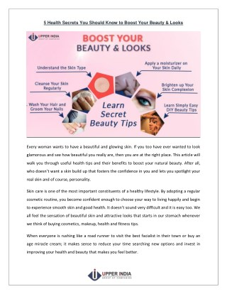 Health Secrets You Should Know to Boost Your Beauty & Looks