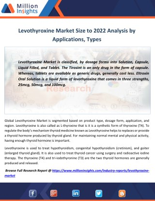 Levothyroxine Industry Analysis of Sales, Revenue, Share, Margin to 2022