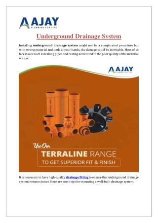 Underground Drainage Systems | Ajaypipes.com