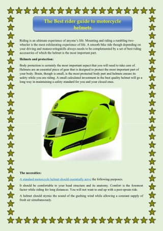 The Best rider guide to motorcycle helmets