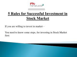 5 Rules for Successful Investment in Stock Market