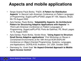Aspects and mobile applications