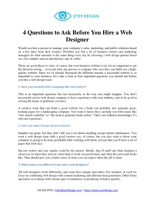 4 Questions ask before hiring Website designer
