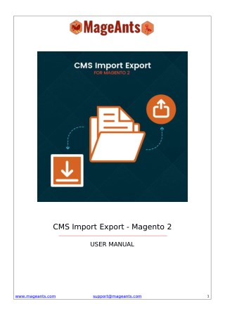 Import Export CMS Pages Magento 2 Extensions
