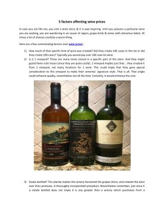 5 factors affecting wine prices