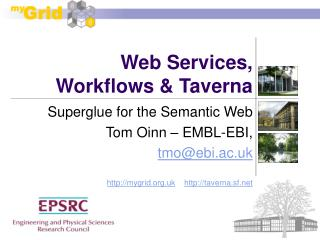 Web Services, Workflows & Taverna