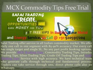Get Daily Bullion Base Metal and Energy Trading Tips Service on Safal Trading