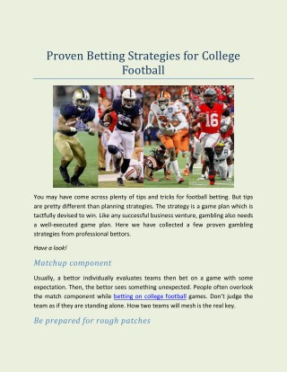 Proven Betting Strategies for College Football