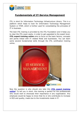 Fundamentals of IT-Service Management [MyLearningCube]