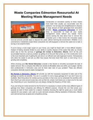Waste Companies Edmonton Resourceful At Meeting Waste Management Needs