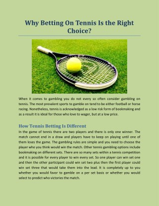 Why Betting On Tennis Is the Right Choice