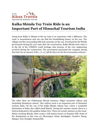 Kalka Shimla Toy Train Ride is an Important Part of Himachal Tourism India