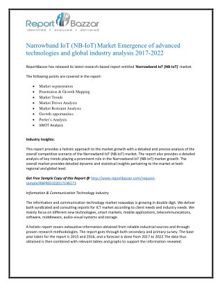 Narrowband iot (nb iot) Market Trends - Size, Share, Growth, Forecast, Segment and Application Analysis To 2017