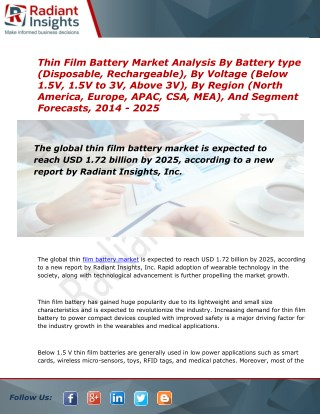 2014 Market Research explores the Thin Film Battery Industry Trends:Radiant Insights, Inc