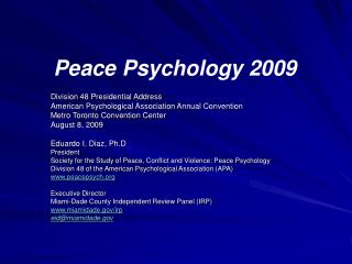 Peace Psychology 2009